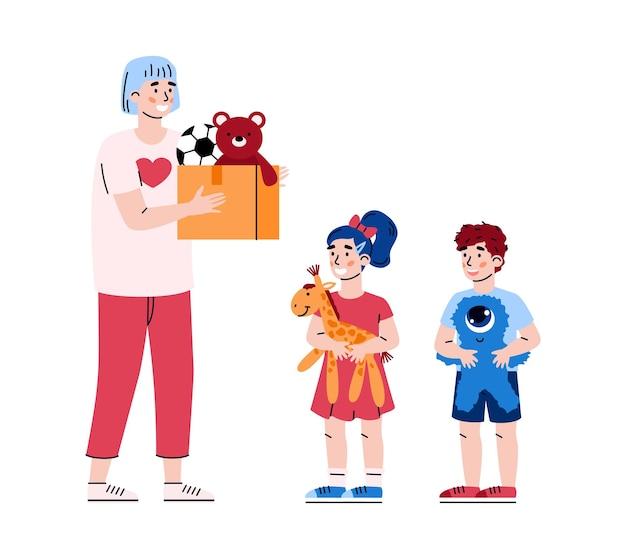 자선 및 어린이 기부를 위해 장난감이 담긴 자원 봉사자 운반 상자