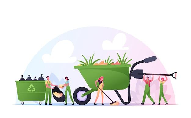 자원 봉사자 캐릭터는 쓰레기를 청소하고 집 마당 지역에 식물을 심습니다. 자루에 쓰레기를 모으는 사람들, 랙킹 그라운드, 자선 및 생태 보호, 자원 봉사. 만화 벡터 일러스트 레이 션