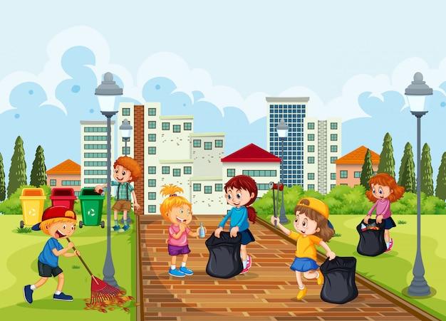 Volunteer children cleaning park
