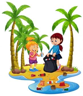 Volunteer children collecting trash on island