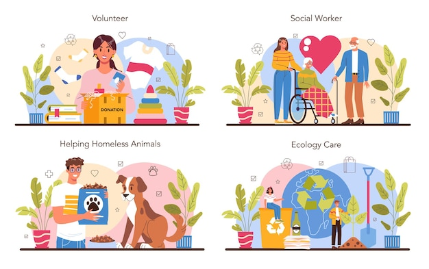 ボランティアコンセプトセット。ソーシャルワーカーは、老人や障害者を支援し、ホームレスの動物を助け、地球の生態系の世話をします。チャリティーと人道的ケア。ベクトルフラットイラスト