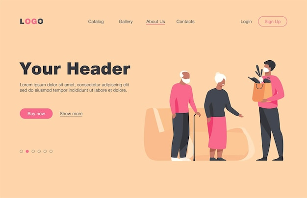 Volunteer delivering food parcels for elderly people isolated flat  landing page. cartoon old people meeting courier in protective mask. delivery service and isolation concept