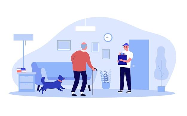 年配の男性のために食料品を配達するボランティア。少年フラットベクトルイラストから杖で老人へのサポート。高齢者のケア、バナー、ウェブサイトのデザイン、またはランディングウェブページの社会的認識の概念