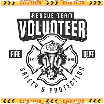 Volunteer emblem for fire department in vintage style isolated