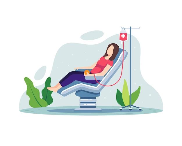 Женский персонаж-волонтер сидит в кресле медицинской больницы и сдает кровь
