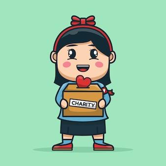 チャリティー募金箱を運ぶボランティアの女の子
