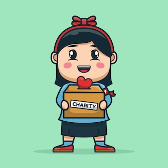 Volunteer girl carry charity donation box