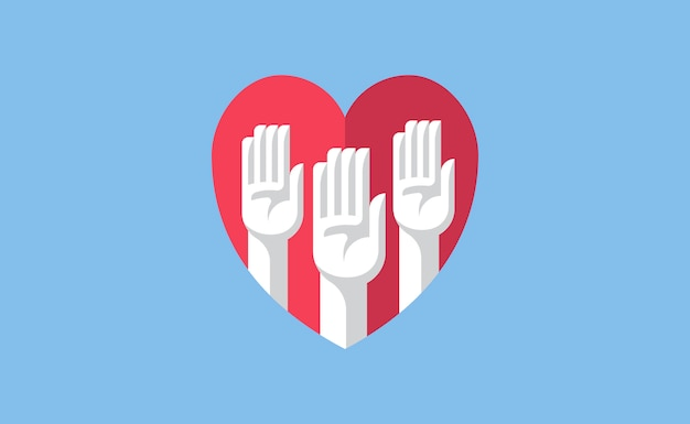 Volunteer hands in a heart illustration