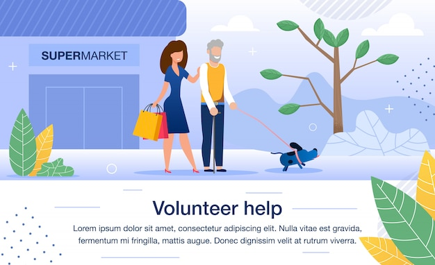 Volunteer help for aged people flat banner