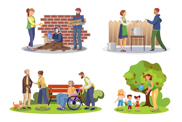Volunteer help flat illustrations set Premium Vector