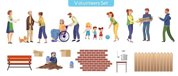 Volunteer help flat illustrations set Premium Vector