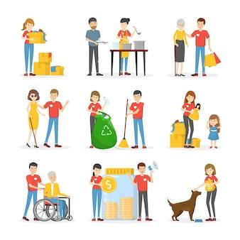 ボランティアは人々が設定するのを助けます。慈善のコレクション