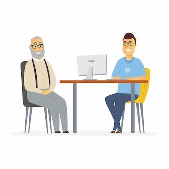 ボランティアは年配の男性を助けます-漫画の人々のキャラクターは白い背景のイラストを分離しました。若い笑顔のソーシャルワーカーがオフィスのコンピューターに座って、素敵な年金受給者にインタビューします
