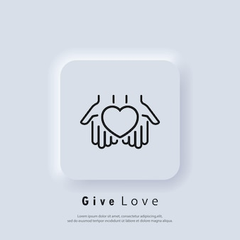 Volunteer icon. give love icon. hands holding heart. relationship. love concept. heart symbol. vector. neumorphic ui ux white user interface web button. neumorphism
