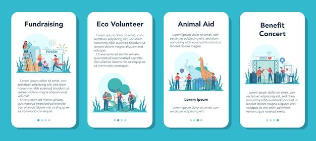 자원 봉사 모바일 응용 프로그램 배너 세트