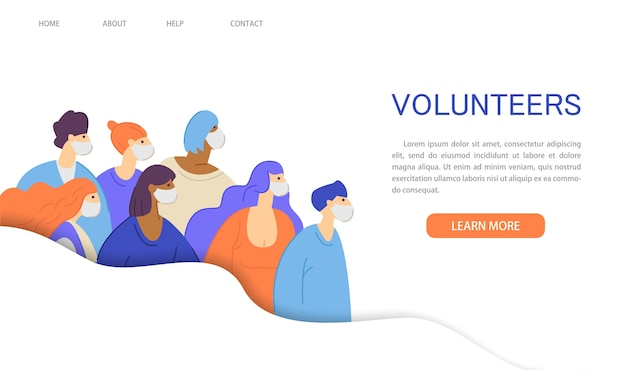 Volunteer movement,charity and help of the coronavirus epidemic website landing page