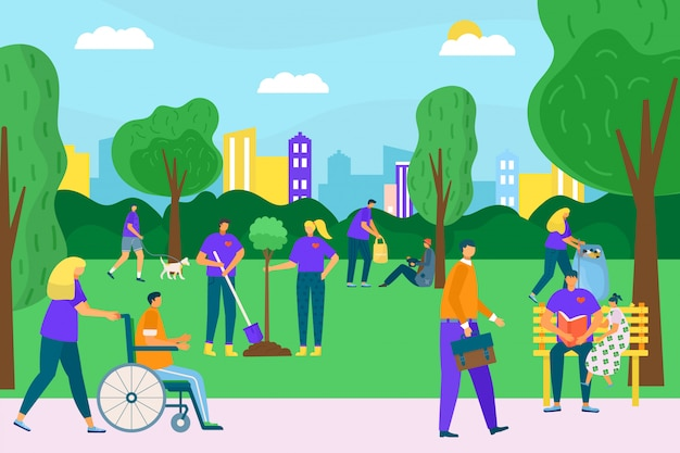 Volunteer people in park nature,  illustration.  city environment community with man woman. volunteering social help, care about ecology and garbage. person group together concept.