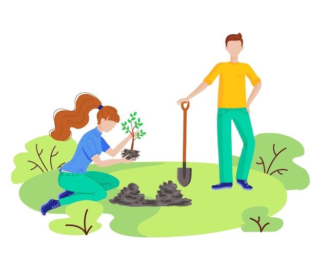 Волонтеры сажают деревья, убирают пластиковый мусор в городском парке. вектор плоский набор с людьми, собирающими мусор, мусор, наружная уборка природы. волонтерство, экология и концепция окружающей среды.