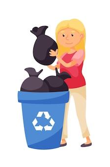 자원 봉사자 흰색 절연 쓰레기통에 쓰레기 봉투를 넣어