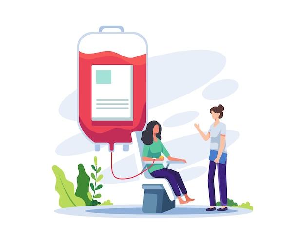 Волонтер сидит в кресле медицинской больницы и сдает кровь иллюстрация всемирного дня донора крови
