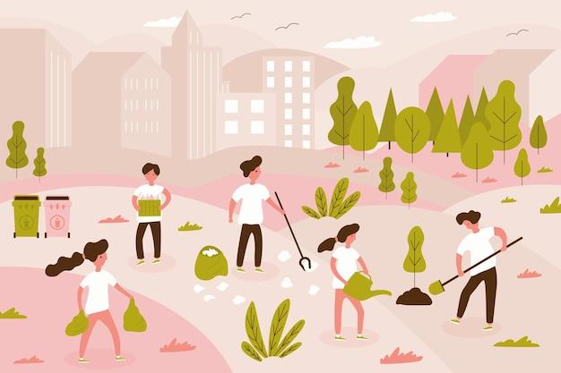 젊은 남녀로 구성된 자원 봉사 팀이 도시 공원, 작은 사람들, 나무를 심는 아이들의 쓰레기를 청소하고 있습니다. 사회 복지사 개념에 대한 자원 봉사의 벡터 그림입니다. 배너 템플릿