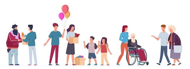 Волонтер. волонтеры помогают людям, благотворительное сообщество собирает пожертвования, поддерживает стариков и больных, раздает еду и одежду. плоские персонажи мультфильмов вектор. пожертвования и концепция благотворительности