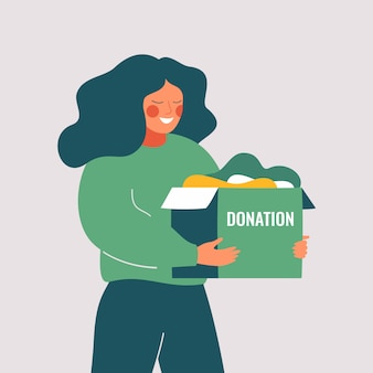 Volunteer woman holds donation box with old used clothes ready to be donated or recycled. social care and charity concept. vector illustration