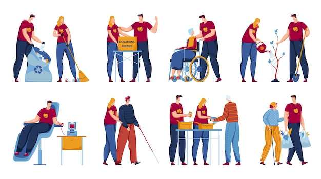 Volunteer work set vector illustration flat man woman character care about elderly people social assistance isolated on white collection