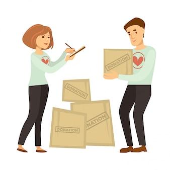 Volunteer work or volunteering people vector donation