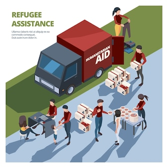 Volunteer working. caring team helping to homeless persons social donation aid elderly van with cargo packages vector isometric