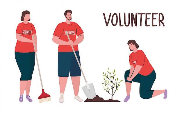 Волонтерство, благотворительная социальная концепция, люди-добровольцы сажают дерево, экологический образ жизни