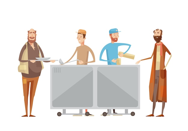Volunteering composition with flat characters of volunteers in uniform dispensing drinks and food to