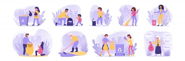 Volunteering, ecology, work, recycling set concept