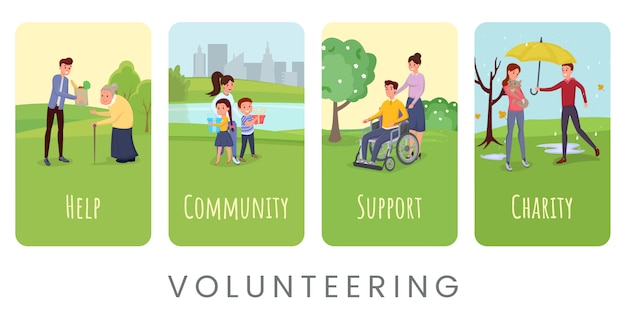 Volunteering flat  banner templates set