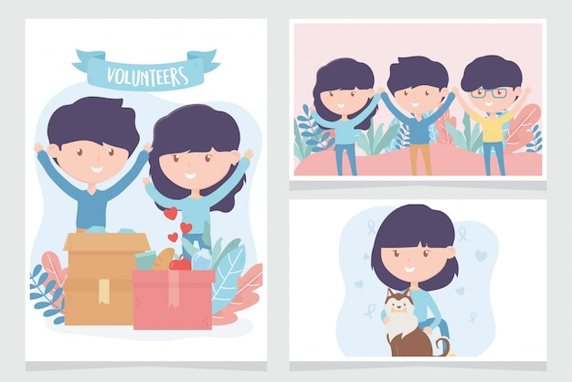 Volunteering, help charity people donate community support cards
