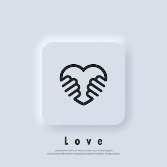 Volunteering icon. charity or give love icon. hand of love logo. vector. ui icon. neumorphic ui ux white user interface web button.