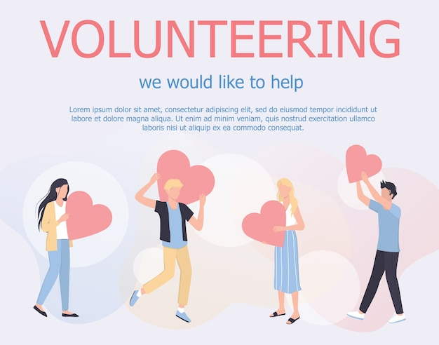 Volunteering web banner concept. team of volunteers help people, charity and donation project. hearts as a methaphor of philanthropy.  illustration