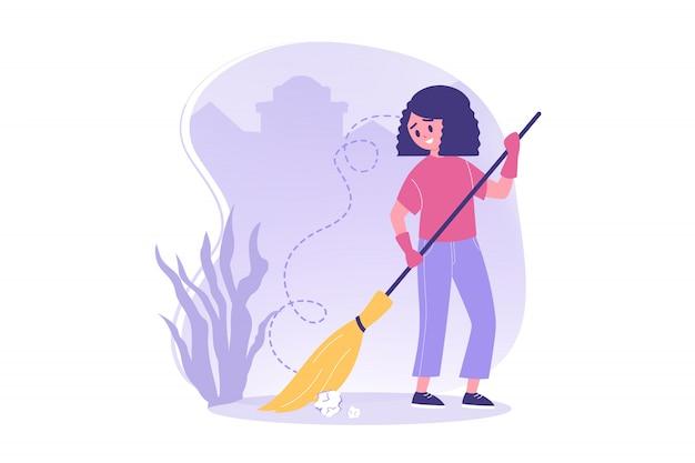 Волонтерство, работа, концепция охраны окружающей среды Premium векторы