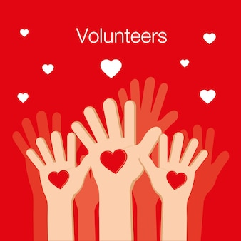 Volunteers and Charity Concept Human Hand Up for Social Activity
