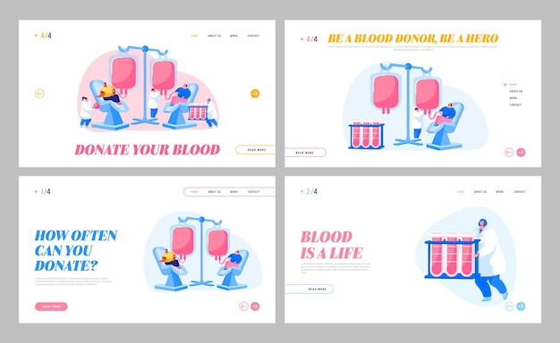 Volunteers characters in hospital donating blood landing page template set