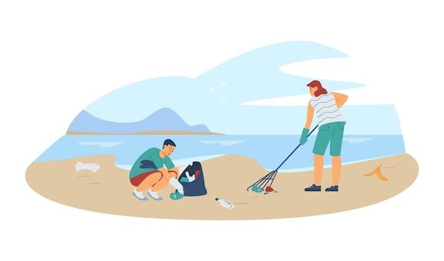 Волонтеры убирают пляж во время экологического мероприятия, векторная иллюстрация изолированы