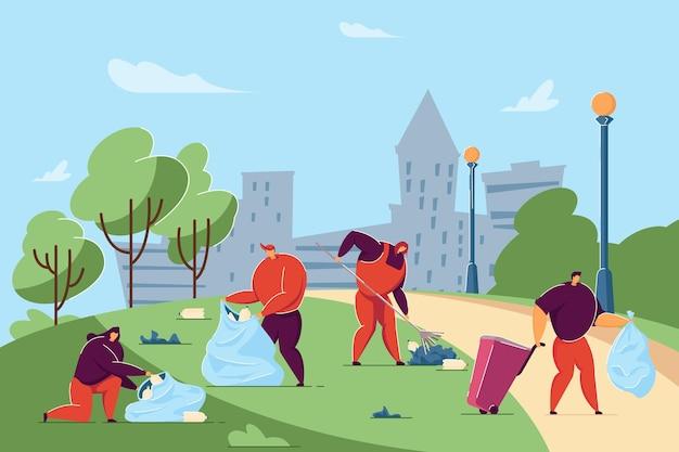 Волонтеры убирают городскую улицу или парк от мусора. плоские векторные иллюстрации. счастливые люди собирают мусор на территории парка с контейнерами, мешками, граблями. переработка, сортировка мусора, концепция экологии