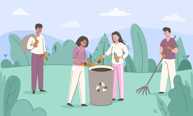 쓰레기를 청소하는 자원 봉사자 쓰레기와 쓰레기를 가방에 수집하는 사람들의 그룹