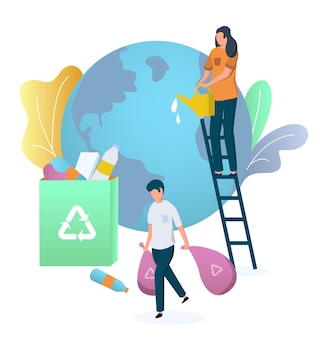 Volunteers cleaning planet earth globe collecting garbage vector illustration save planet environmen...