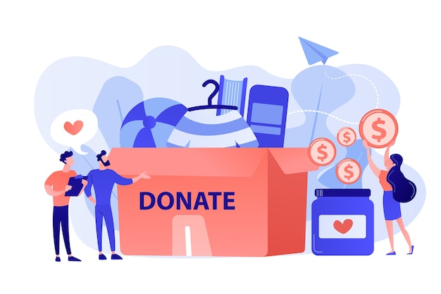 Volunteers collecting goods for charity into huge donation box and donating coins into jar. donation, charity donation funds, gift in kind concept. pinkish coral bluevector isolated illustration
