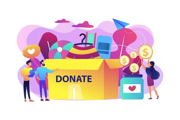 Волонтеры собирают товары на благотворительность в огромную коробку для пожертвований и жертвуют монеты в банку. пожертвование, фонды благотворительных пожертвований, концепция подарка натурой.