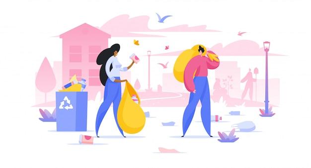 街のイラストでゴミを集めるボランティア