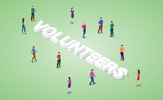 Volunteers concept with various people and big word or text with modern isometric style