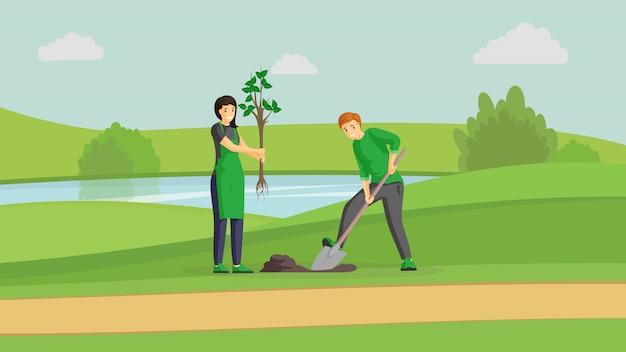ボランティアカップル植栽ツリーカラーイラスト。川、男掘り、苗木漫画のキャラクターを保持している女性の近くの公園でガーデニングの人々。屋外で活動し、一緒に地球を緑化する活動家