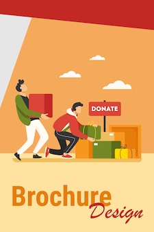 Volunteers donating stuff in boxes for poor people. service, homeless, kindness flat vector illustration. charity and care concept